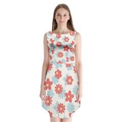 Flower Pink Sleeveless Chiffon Dress