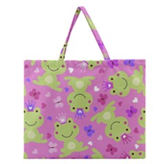 Frog Princes Zipper Large Tote Bag