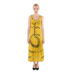 Yellow Soles Of The Feet Sleeveless Maxi Dress