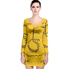 Yellow Soles Of The Feet Long Sleeve Bodycon Dress