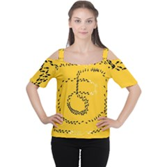 Yellow Soles Of The Feet Women s Cutout Shoulder Tee