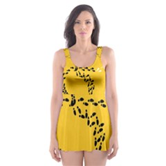 Yellow Soles Of The Feet Skater Dress Swimsuit
