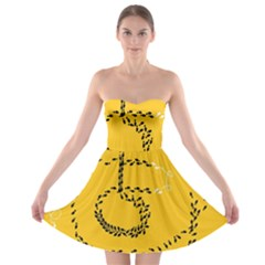 Yellow Soles Of The Feet Strapless Bra Top Dress
