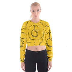 Yellow Soles Of The Feet Women s Cropped Sweatshirt