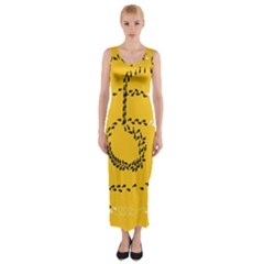 Yellow Soles Of The Feet Fitted Maxi Dress