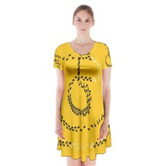 Yellow Soles Of The Feet Short Sleeve V-neck Flare Dress