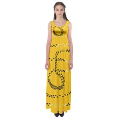 Yellow Soles Of The Feet Empire Waist Maxi Dress