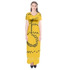 Yellow Soles Of The Feet Short Sleeve Maxi Dress