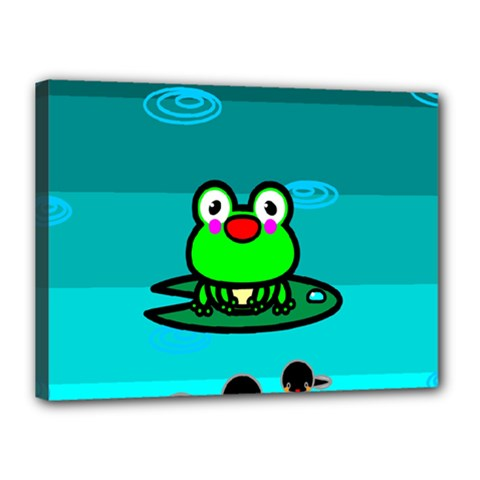 Frog Tadpole Green Canvas 16  x 12