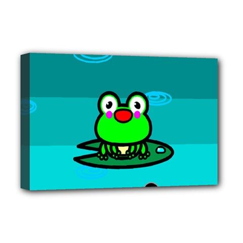 Frog Tadpole Green Deluxe Canvas 18  x 12
