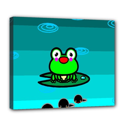 Frog Tadpole Green Deluxe Canvas 24  x 20