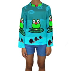 Frog Tadpole Green Kids  Long Sleeve Swimwear