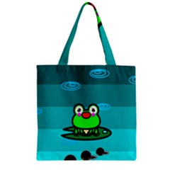 Frog Tadpole Green Zipper Grocery Tote Bag