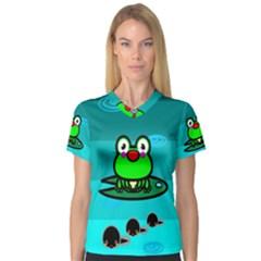Frog Tadpole Green Women s V-Neck Sport Mesh Tee