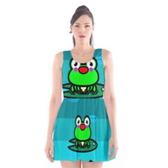 Frog Tadpole Green Scoop Neck Skater Dress
