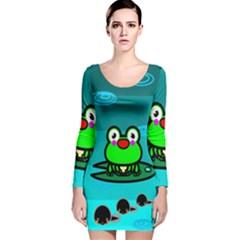 Frog Tadpole Green Long Sleeve Velvet Bodycon Dress