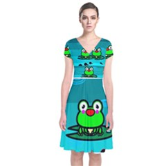 Frog Tadpole Green Short Sleeve Front Wrap Dress