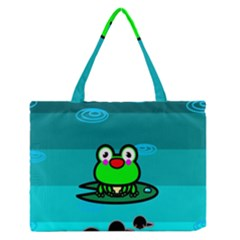 Frog Tadpole Green Medium Zipper Tote Bag