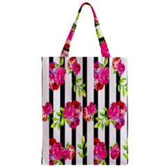 Flower Rose Zipper Classic Tote Bag