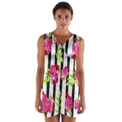Flower Rose Wrap Front Bodycon Dress