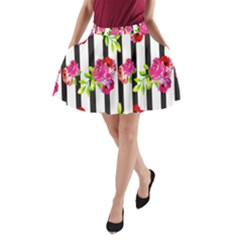 Flower Rose A-Line Pocket Skirt