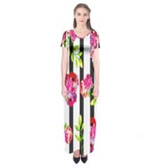 Flower Rose Short Sleeve Maxi Dress