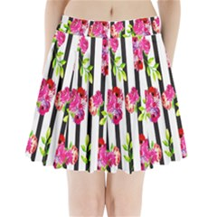 Flower Rose Pleated Mini Skirt