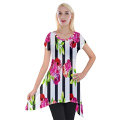 Flower Rose Short Sleeve Side Drop Tunic