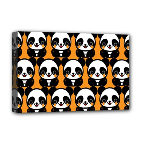 Halloween Night Cute Panda Orange Deluxe Canvas 18  x 12