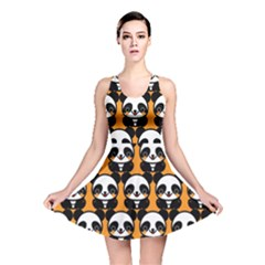 Halloween Night Cute Panda Orange Reversible Skater Dress