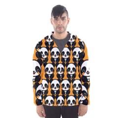 Halloween Night Cute Panda Orange Hooded Wind Breaker (Men)