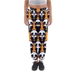 Halloween Night Cute Panda Orange Women s Jogger Sweatpants