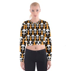 Halloween Night Cute Panda Orange Women s Cropped Sweatshirt