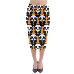 Halloween Night Cute Panda Orange Midi Pencil Skirt