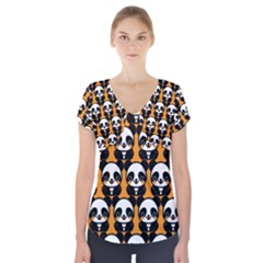 Halloween Night Cute Panda Orange Short Sleeve Front Detail Top