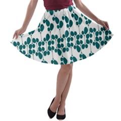 Flower Tree Blue A-line Skater Skirt