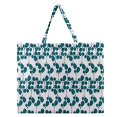 Flower Tree Blue Zipper Large Tote Bag