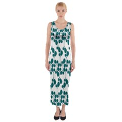 Flower Tree Blue Fitted Maxi Dress