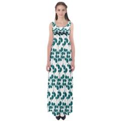 Flower Tree Blue Empire Waist Maxi Dress