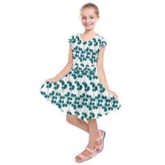 Flower Tree Blue Kids  Short Sleeve Dress