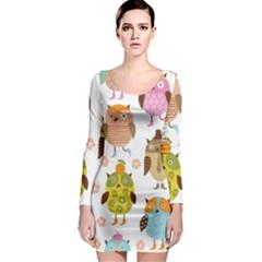 Highres Owls Long Sleeve Bodycon Dress