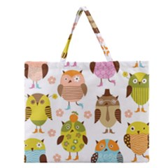 Highres Owls Zipper Large Tote Bag
