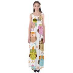 Highres Owls Empire Waist Maxi Dress