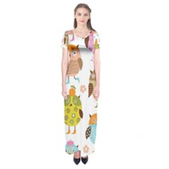 Highres Owls Short Sleeve Maxi Dress