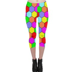 Hexagonal Tiling Capri Leggings