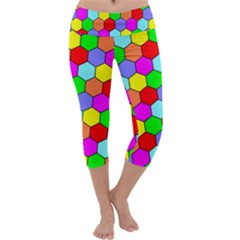 Hexagonal Tiling Capri Yoga Leggings