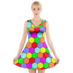 Hexagonal Tiling V-Neck Sleeveless Skater Dress
