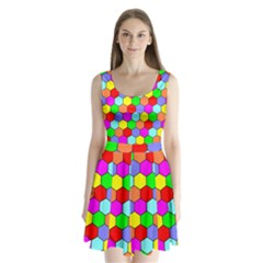Hexagonal Tiling Split Back Mini Dress