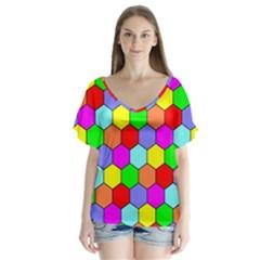 Hexagonal Tiling Flutter Sleeve Top