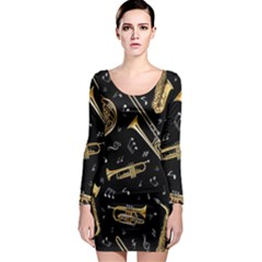 Instrument Saxophone Jazz Long Sleeve Bodycon Dress